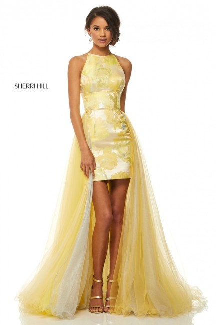 Yellow Silver Evening Dresses