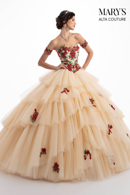 4e20102fe3a Marys Bridal MQ3028 Layered Skirt Quinceanera Gown Dress - MadameBridal.com