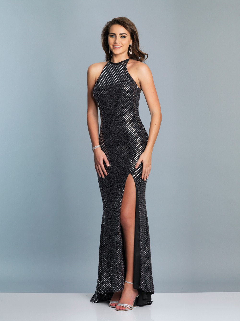 1504cc7e3bf Dave and Johnny A6919 Strappy Back Metallic Prom Dress