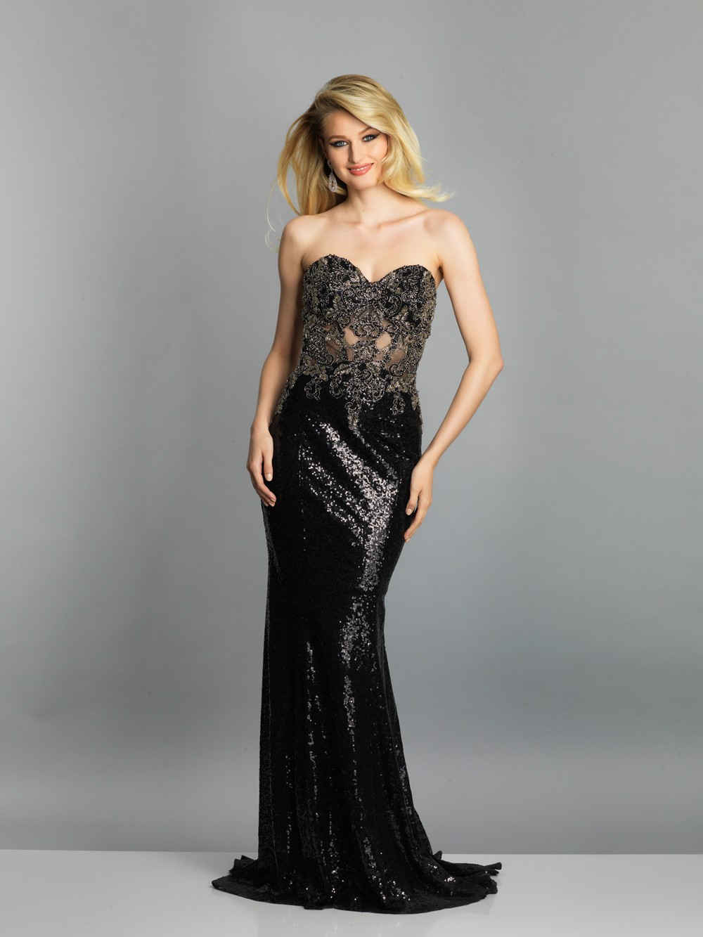 028fb2a9072 Long Strapless Prom Dress With Sweetheart Neckline And Lace Bodice