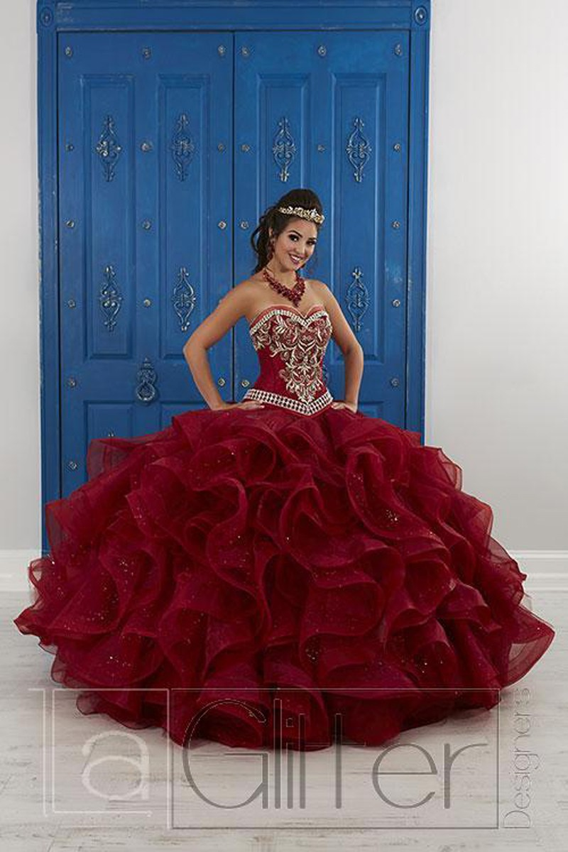 1fb4689f9e3 ... 26818 Ruffle Quinceanera Dress With Removable Skirt At French Novelty.  House Of Wu Dress Style 24047