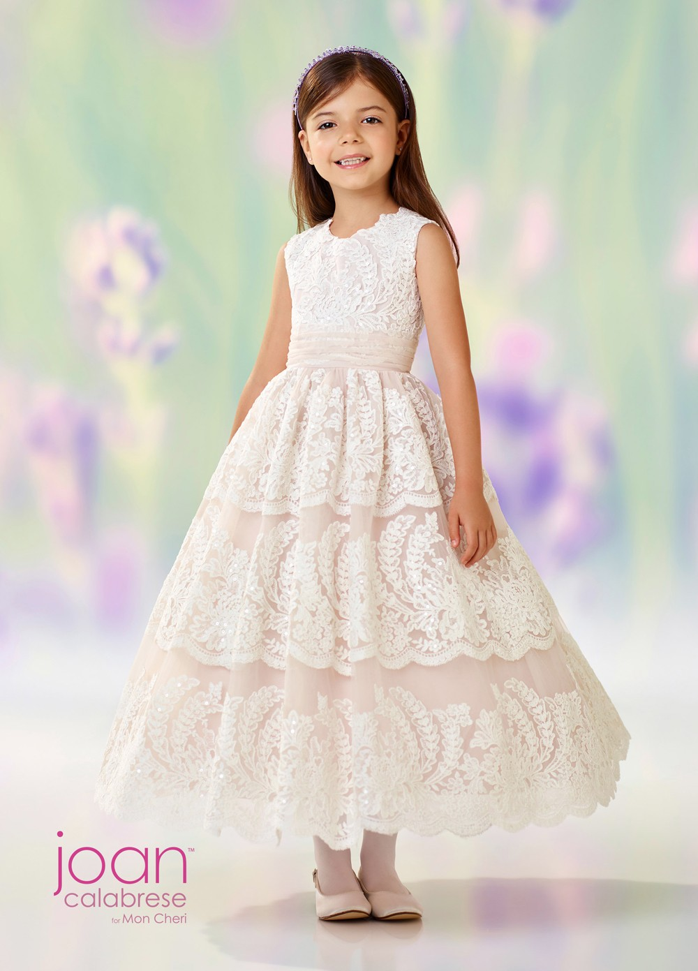b9944506116 Joan Calabrese 118309 Lace Flower Girl Dress. Tap to expand