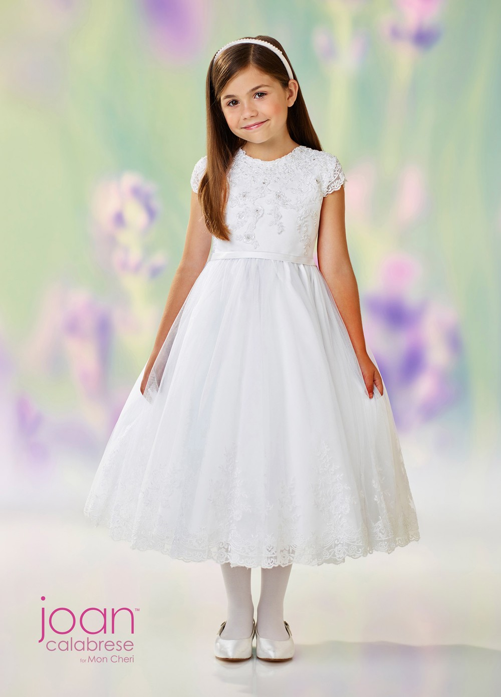 d9494ee5332 Joan Calabrese 118311 Lace Back Flower Girl Dress. Tap to expand
