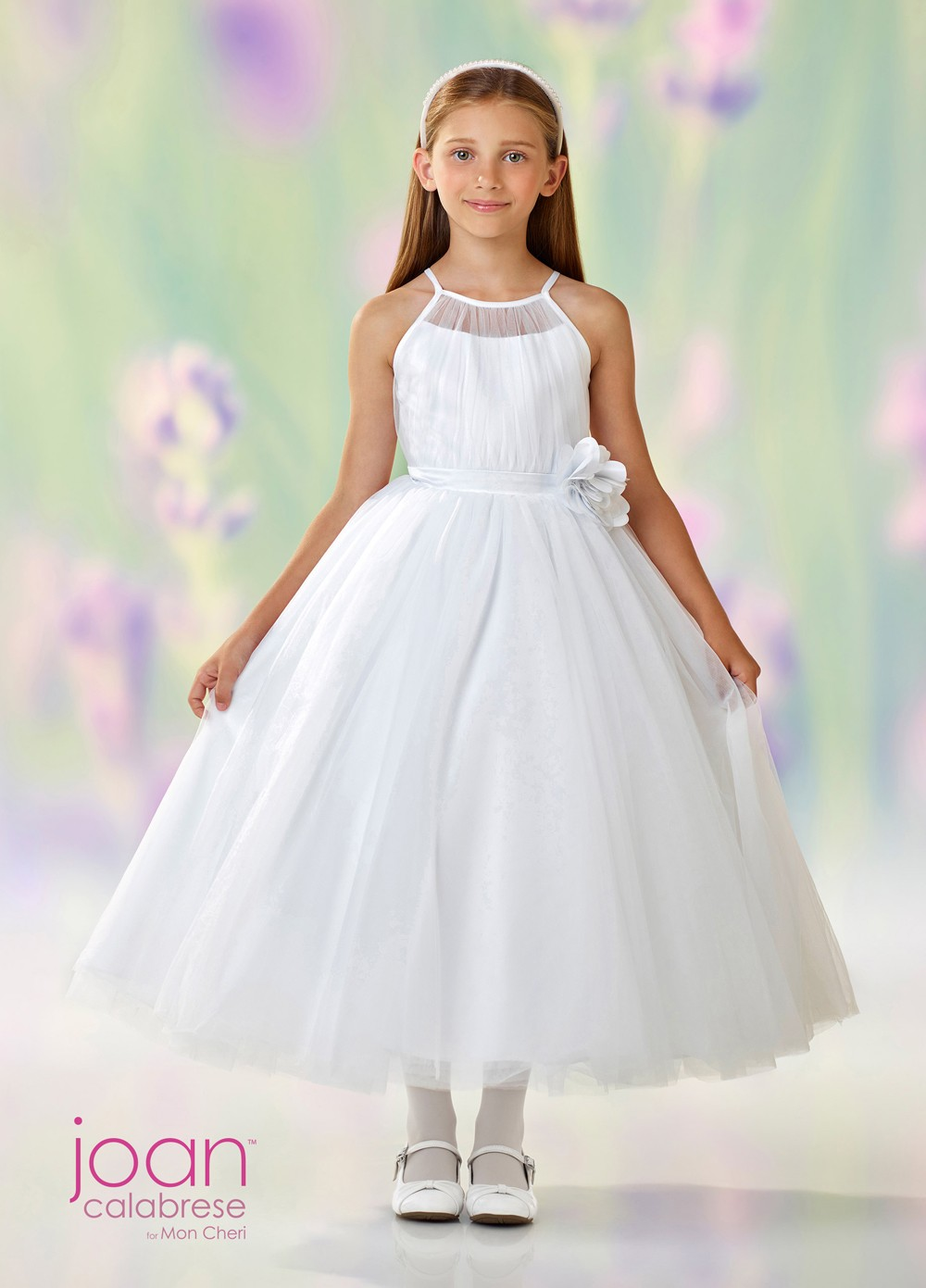 4d70353b322 Joan Calabrese 118322 Spaghetti-Strap First Communion Dress. Tap to expand