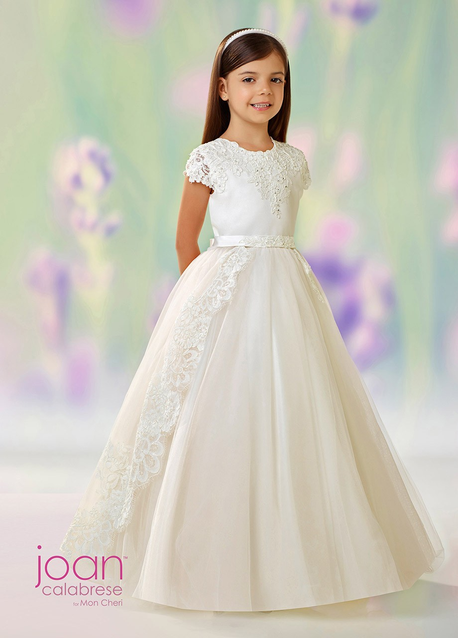 0e601b91478 Joan Calabrese 118330 First Communion Dress with Detachable Overskirt. Tap  to expand
