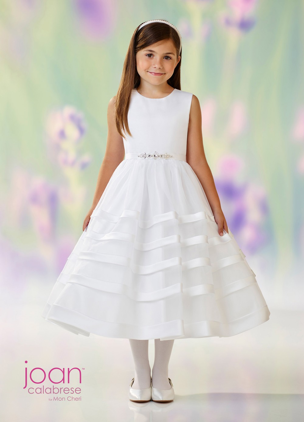 a23d8174492 Joan Calabrese 118334 Stripe Skirt First Communion Dress ...