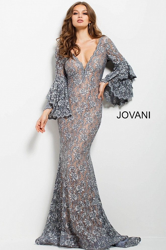50e15ef59a0 Jovani 57048 Bell-Sleeve Evening Dress. Tap to expand