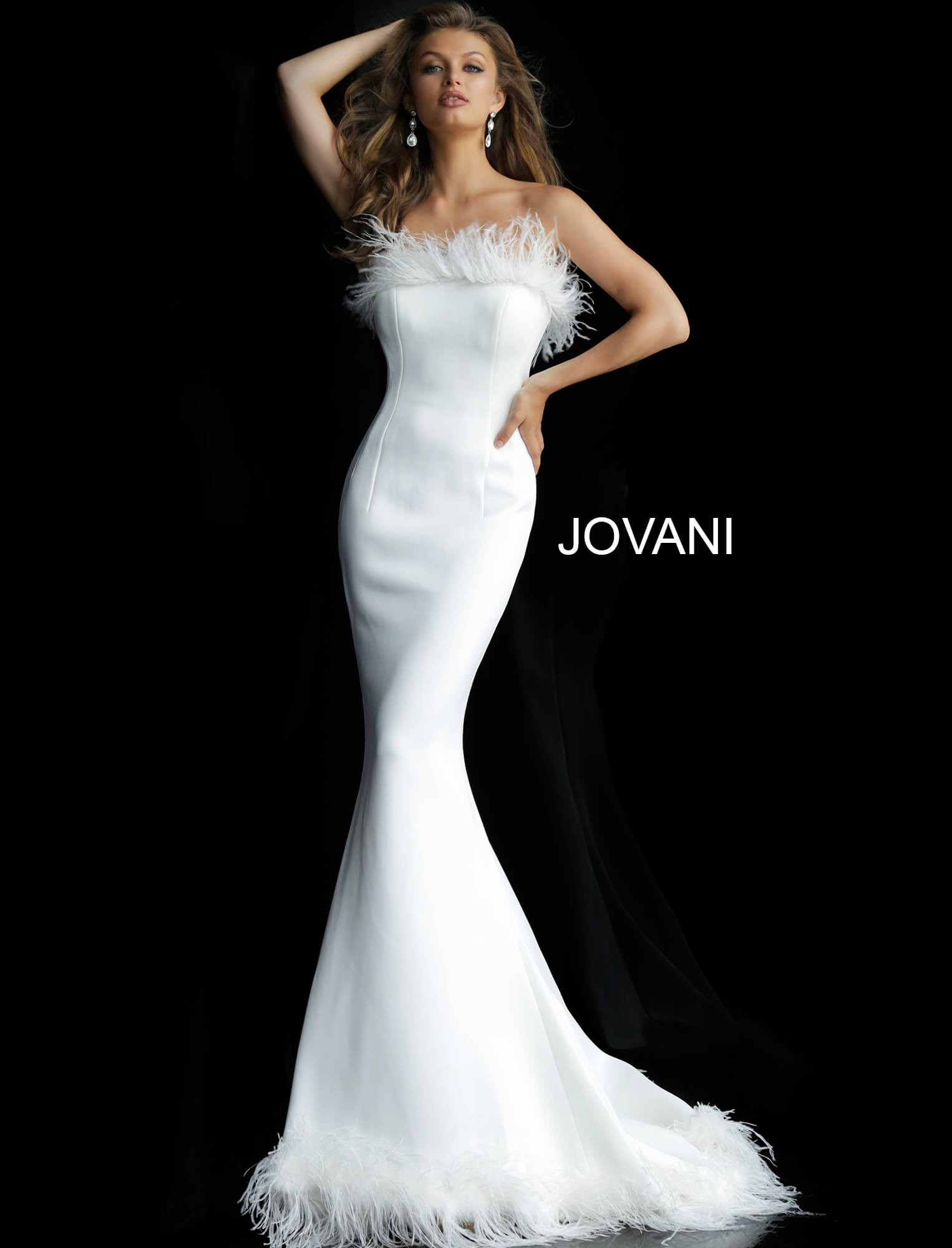 3dc2462c1bd Jovani 63891 Feather Neck Evening Gown. Size chart