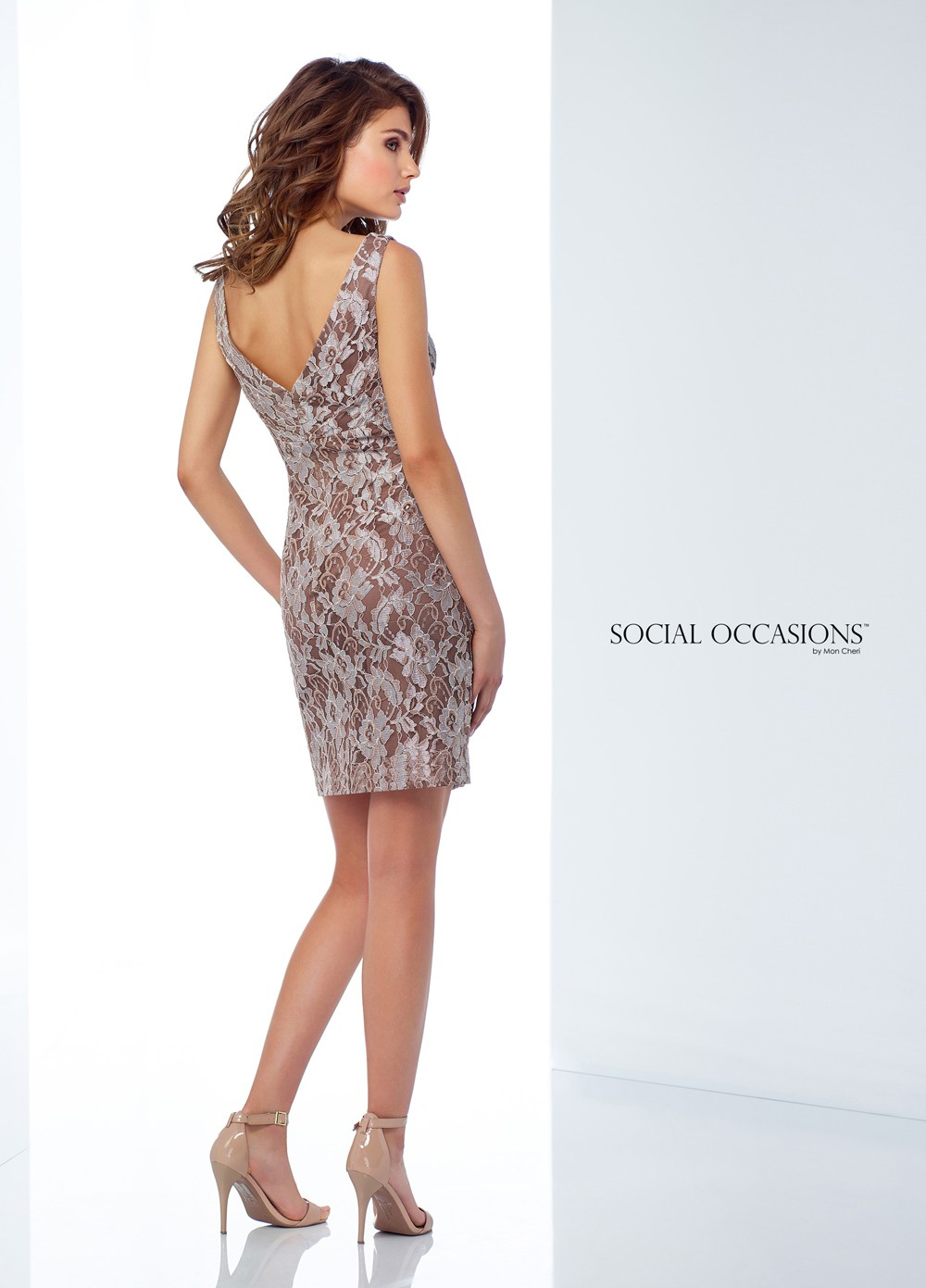 cb8e3df33c9 ... Social Occasions by Mon Cheri 118868 Fitted Lace Formal Short Dress ...