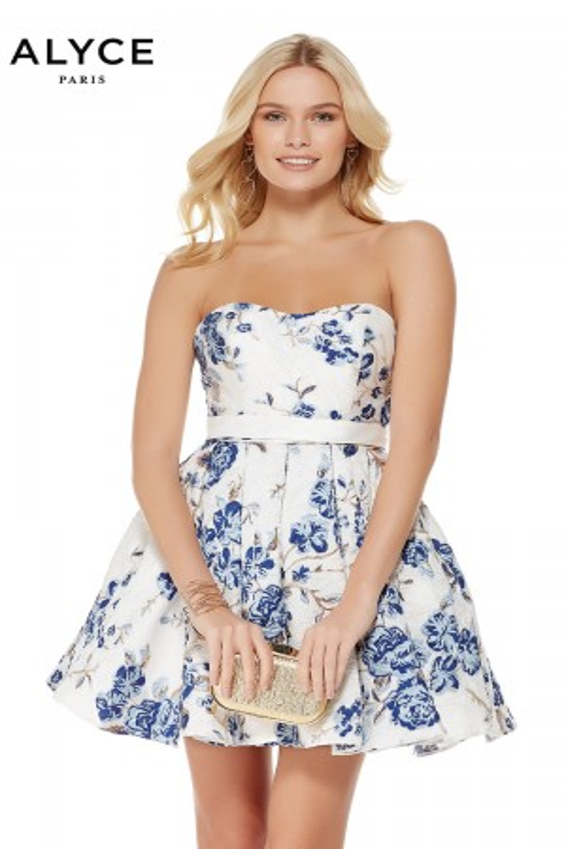 84e7862486 Alyce Paris 3773 Floral Print Short Party Dress