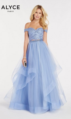 4de849097cdd37 Alyce Paris 60373 Two-Piece Off-the-Shoulder Prom Dress