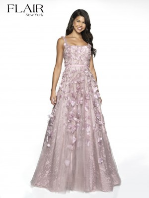 6184dd298ec7 Flair NY 19216 Square Neck Floral Prom Gown