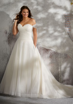 2256b945cbc Mori Lee 3245 Lyla Drop Waist Plus Size Wedding Gown