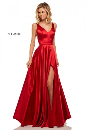 ba94e5599c3 Sherri Hill 52410 V-Neck High Slit Formal Dress