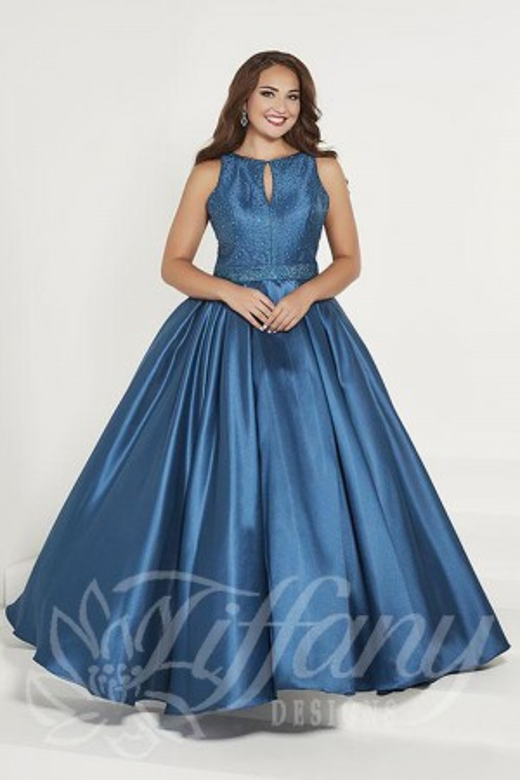 72c1b5fc6c3 Tiffany Designs 16386 Keyhole Neck Plus Size Formal Gown