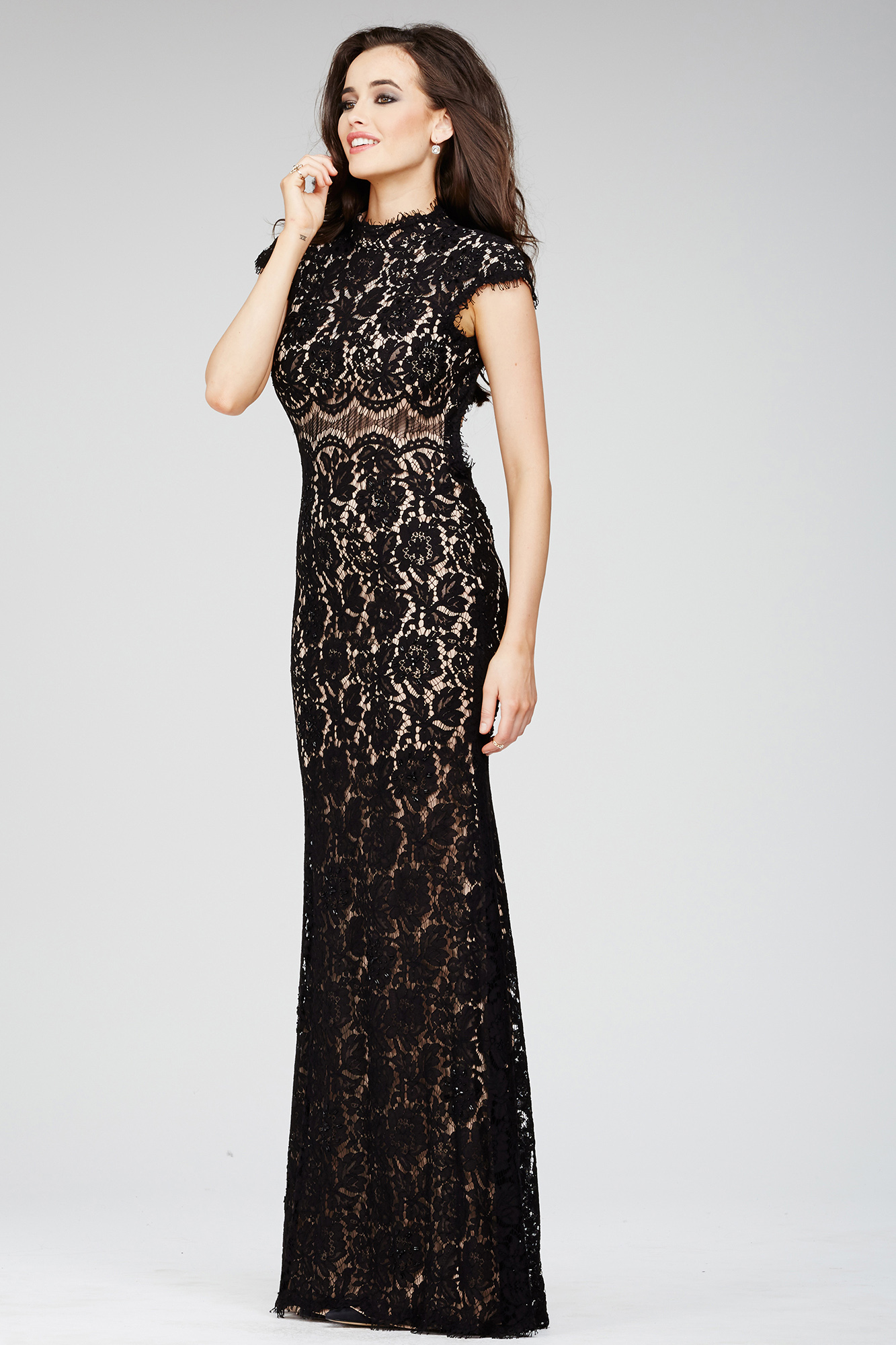 57f4279282ee Evening Dress With Lace Applique | Saddha