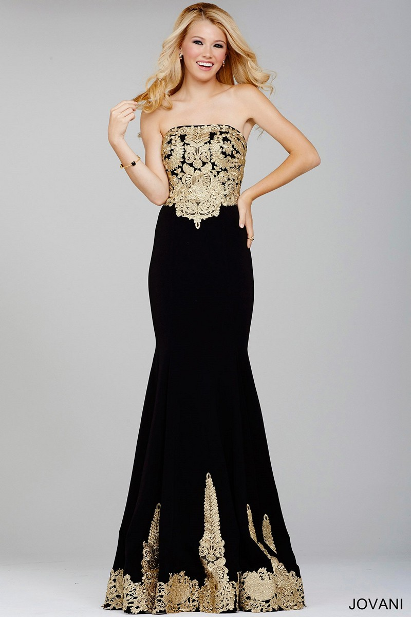 343fe16dacd Jovani 33169 Gold Embroidered Prom Dress
