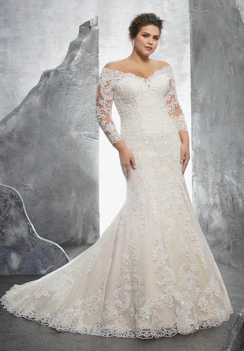 Long Sleeve Plus Size Wedding Dress
